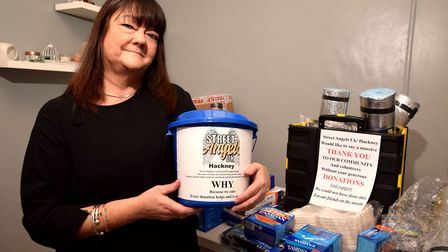 Jackie Carr with just some of the donated goods she has received to give out to the homeless in Hack