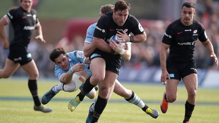 Saracens' Brad Barritt carries the ball forward against Glasgow Warriors (pic: Adam Davy/PA)