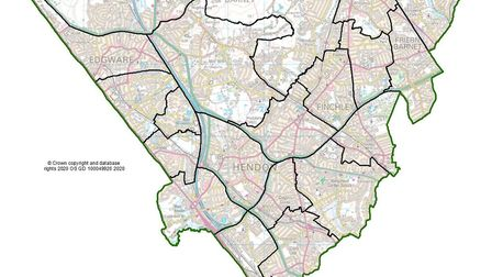 Barnet's new ward boundaries according to the independent Boundary Commission. Picture: LGBCE / Ordn