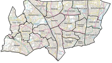 Haringey's new ward boundaries according to the independent Boundary Commission. Picture: LGBCE / Or