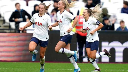 Tottenham Hotspur women's Rianna Dean is congratulated on scoring their first goal of the game durin