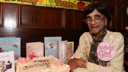 Irene Sinclair celebrating her 107th birthday with family and friends in 2015.