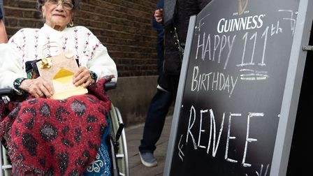 Irene Sinclair on her 111th birthday in 2019. Picture: Joshua Thurston