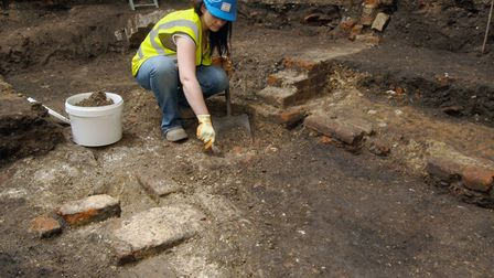 Archaeologists from MOLA excavate The Theatre. Picture: Museum of London Archaeology