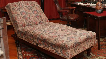 Purchased from J&A Carter in Great Portland Street the invalid couch was set up in Freud's study in