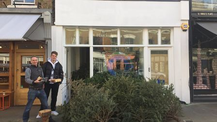 The trees were collected outside the cosmetics company's new shop in Broadway Market