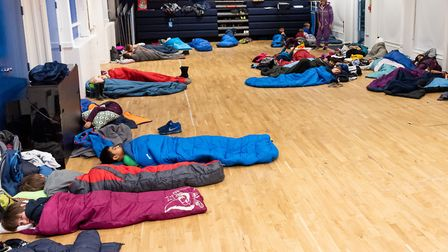 Devonshire House School pupils sleeping in the school hall for charity. Picture: DHS