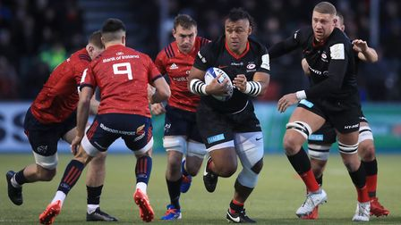 Saracens' Billy Vunipola on the charge against Munster during the European Rugby Champions Cup pool