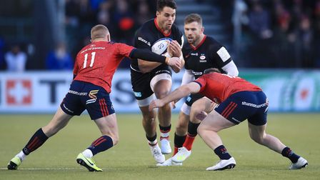 Saracens' Sean Maitland attacks against Munster during the European Rugby Champions Cup pool four ma