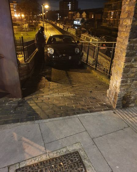 The driver attempted to drive on the River Lea towpath. Picture: Hackney Police