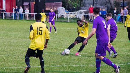 A Hackney Wick players tries to find the net against Long Melford (pic: Hackney Wick FC).