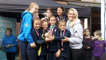South Hampstead High School pupils with Chemmy Alcott