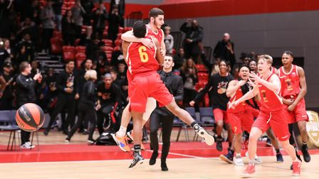 Haringey Hawks Alex Distras celebrates at the buzzer (pic Basketball England)