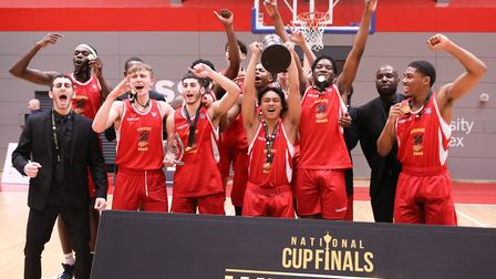 Haringey Hawks under-18s celebrate their National Cup win (pic Basketball England)