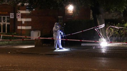 Forensic officers attended into the night. Picture: @999London