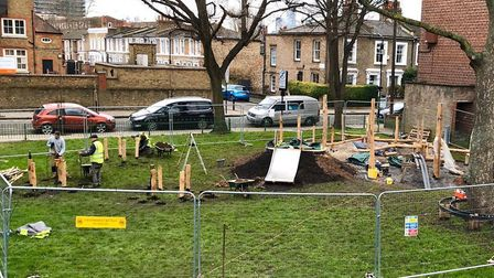 The natural play space being built by Curved Earth on the Morland Estate.