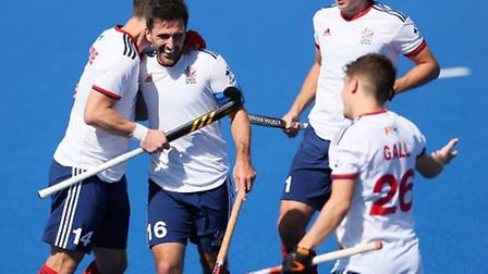 Great Britain's men celebrate a goal against New Zealand (pic GB Hockey)