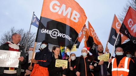 Domestics from the GMB union protest outside Homerton Hospital in December over their terms and cond