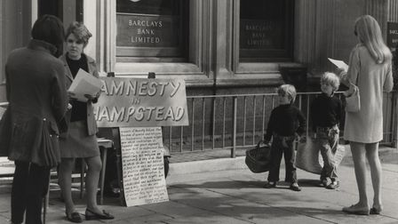 Amnesty campaigners in Hampstead High Sreet in 1967. Picture: Camden Local Studies and Archives Cent