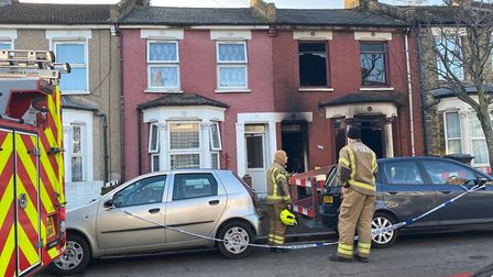 Firefighters at the scene in Olinda Road. Picture: @999London