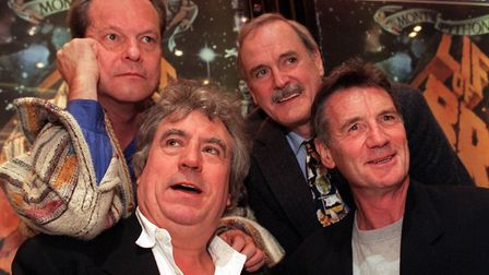 Former Monty Python stars Terry Gilliam, Terry Jones, John Cleese and Michael Palin attending a char