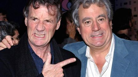 Terry Jones with Michael Palin at a screening of 'The Brothers Grimm', at the Odeon West End Cinema,