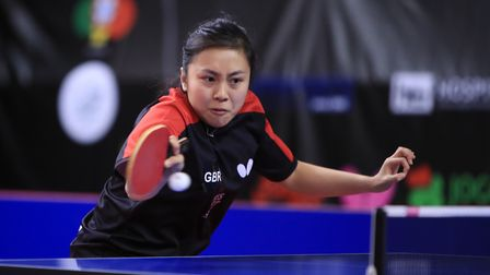 Tin-Tin Ho in action in the women's team event at the Olympic qualifying tournament (pic RG/ITTF)
