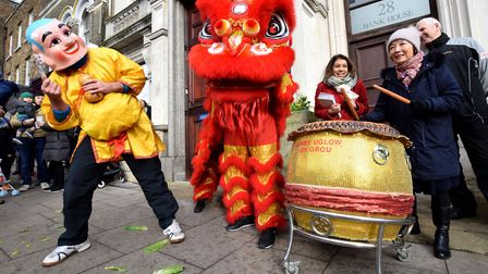 Lion Dance outside Hampstead branch of Barclays Bank on 26.01.20. to celebrate Chinese New Year. Org