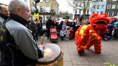 Drummers getting involved in Hampstead's lion dance. Picture: Polly Hancock