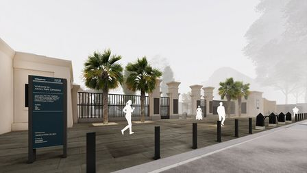 An artist's impression of what the new entrance for Abney Park in Stoke Newington High Street will l