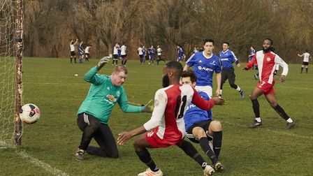 Sporting Club de Mundial in action against Power Red. Picture: James Starkey