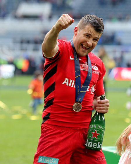 Saracens Richard Wigglesworth celebrates winning the Champions Cup Final at St James' Park, Newcastl