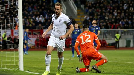 England's Harry Kane celebrates scoring his side's second goal of the game during the UEFA Euro 2020