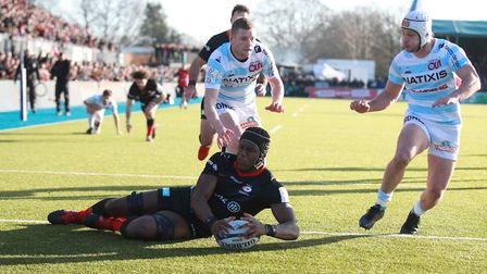 Saracens' Maro Itoje scores their third try during the Heineken Champions Cup, pool four match again