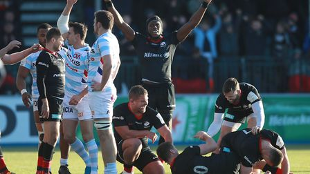 Saracens' Maro Itoje celebrates their win at the end of the game during the Heineken Champions Cup,