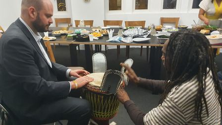 At his first ever Genna the Mayor had a go at Djembe drumming. Picture: Holly Chant