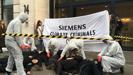 Siemens' office in Eversholt Street, Euston, was taken over by climate activists. Picture: Dorothea
