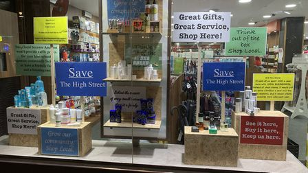 Petter Pharmacy's shop window campaign is encouraging Crouch End shoppers to stay local. Picture: Pe