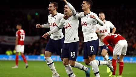 Tottenham Hotspur's Giovani Lo Celso (centre) celebrates scoring his side's first goal of the game