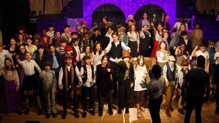 The cast of Oliver! in Stoke Newington School's first production in its new theatre. Picture: Nathan