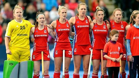 Great Britain's women line up before action (pic GB Hockey)