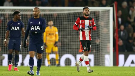 Southampton's Sofiane Boufal (right) after scoring against Spurs at St Mary's Stadium