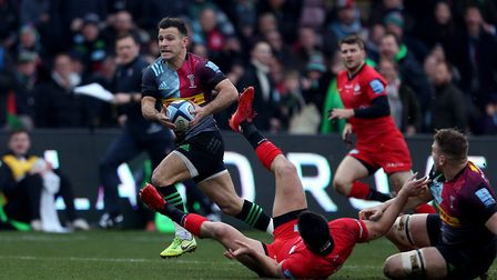 Harlequins Danny Care goes onto scores his side's 1st try during the Gallagher Premiership match at