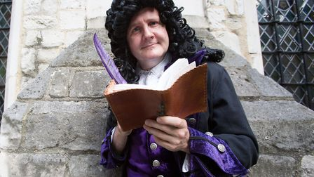 Jonathan Lovett as Samuel Pepys in Fleas and Cheese picture by Anna Gordon