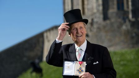 Nicholas Parsons with his Commander of the Order of the British Empire (CBE) medal. Picture: Steve P