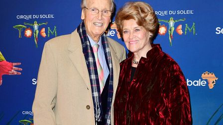 Nicholas Parsons and Ann Parsons attending the premiere of Cirque du Soleil's Totem, in support of t