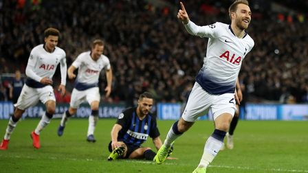 Tottenham Hotspur's Christian Eriksen celebrates scoring his side's first goal of the game during th