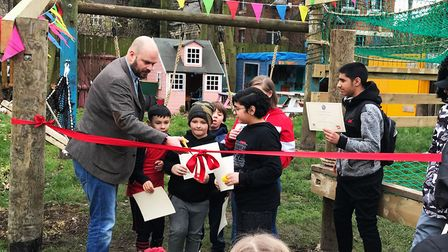Phil Glanville joined young people to cut the ribbon to officially open Netageddon. Picture: Build U