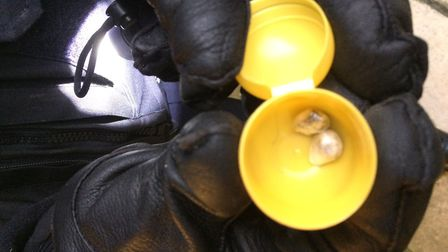 Suspected heroin in a Kinder egg container. Picture: Sam Volpe