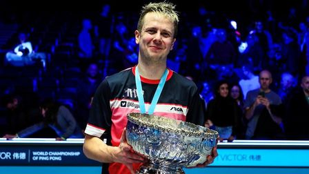 Andrew Baggaley celebrates his success at the World Championship of Ping Pong (pic Tai Chengzhe/Matc
